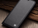 Husa slim piele naturala qialino iphone x, tip carte, negru
