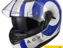 Casca moto noua cu ochelari de soare, 4* sharp,warp albastru