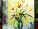 Tablou pictat manual pe panza in ulei Vaza cu Flori A-233