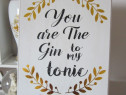 Cadou inedit- You are The Gin to my tonic-decoratiune 30x24