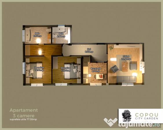 Apartament Copou City Garden 2 Camere Eur