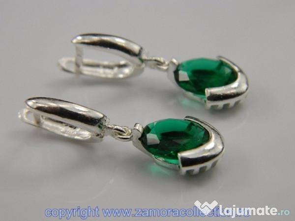 marimea 7 de unde pot cumpăra preț competitiv Cercei argint si piatra verde smarald: CR041818, 70 lei - Lajumate.ro