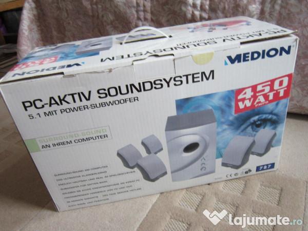 boxe pc aktiv soundsystem medion 5 1 power subwoofer 200 ron. Black Bedroom Furniture Sets. Home Design Ideas