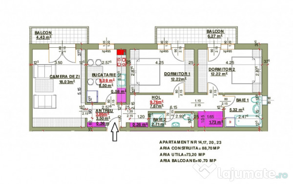 Apartament 3 Camere De 73 Mp In Calea Cisnadiei Decomandat