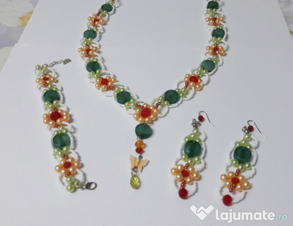 reducere mare cele mai noi asa ieftin Set bijuterii handmade floral din 3 piese, 30 lei - Lajumate.ro