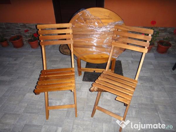 Set masa cu 2 scaune lemn pliante pentru gradina 40 ron for Masa cu scaune dedeman