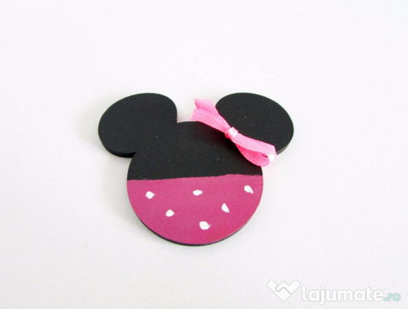 Marturii Botez Handmade Minnie Mouse Cu Magnet 5 Ron Lajumatero